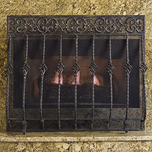 Tuscany Cast Iron Fireplace Screen With Straight Top
