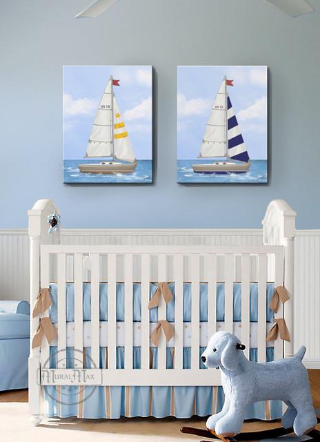 Sophisticated Modern Nautical Nursery: Nautical Sailboat Nursery Canvas Set, Nautical Wall Art