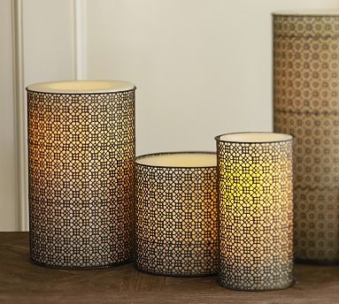 """Moroccan Filigree Metal Candle Sleeve, 6 x 14"""" traditional-candles"""