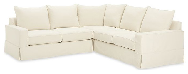 PB Comfort Square Slipcovered Three-Piece L-Shaped Sectional contemporary sectional sofas