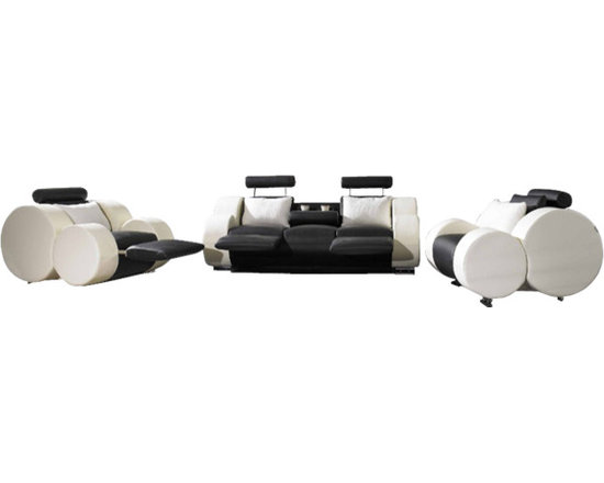 Scene Furniture - TX Modern Sofa Set - This very modern and unique leather sofa set is hand produced with genuine Italian leather and is designed with round armrests that are sure to impress all your guests. The sofa's center drops down and converts into a double cup holder.
