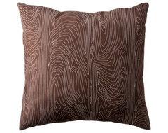 Decorative Wood Grain Pillow, Brown contemporary-pillows