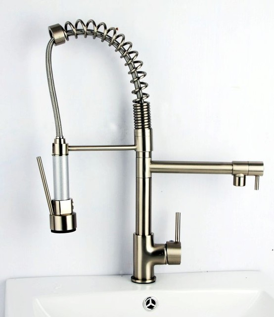 Brushed Nickel Pull Out Kitchen Faucet With Spray Hand Shower 0323E contemporary-kitchen-faucets