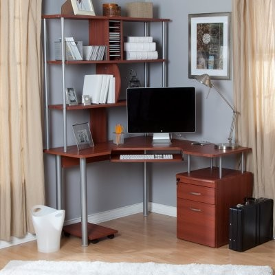 Toppline Corner Computer Desk with Bookcase and File System - Cherry - Modern - Desks And ...