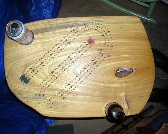 Cribbage Tables - Various hard wood Cribbage tables all hand crafted and hand painted, cards and pegs incorporated into the table, if there is an agate (stone) on the table there is a pocket under the stone concealing the pegs, single and double skunks are painted on the table to let you know how badly you lost, muggers alley can be put on the table at your request, these tables are all end table size approx. 24 inches high, walnut,cherry,curly maple,red oak and ash are available right now, All tables are made with hard wood legs, pick the one you like or I can custom make one for you,