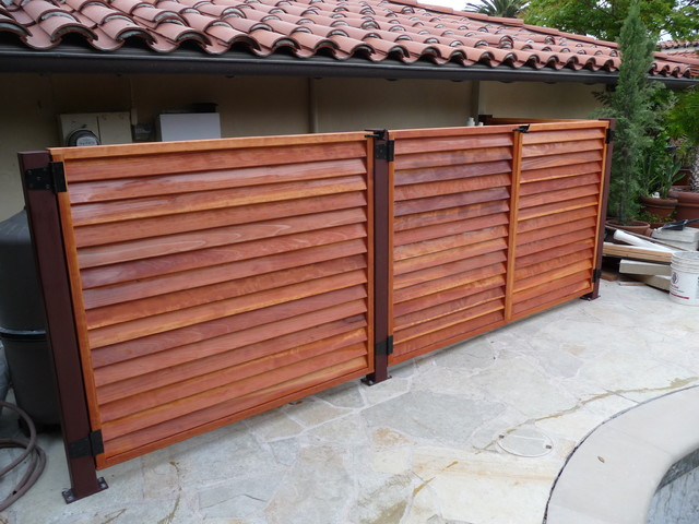Louvered wood equipment enclosure gates, Palos Verde - Mediterranean - Pool - other metro - by ...