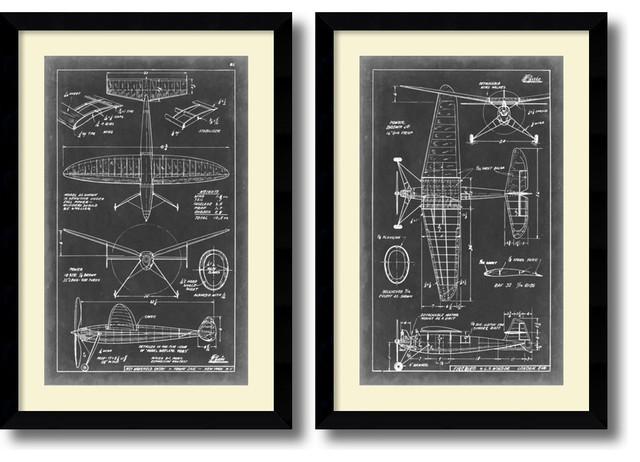Vision Studio Aeronautic Blueprint III amp IV Framed Art