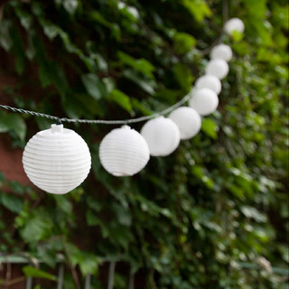 White Round Oriental Solar Nylon String Lights