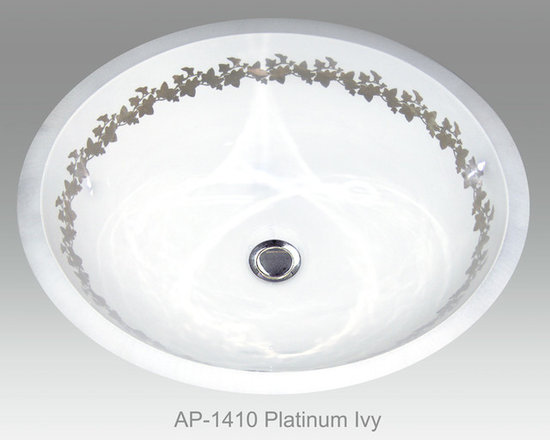 "Hand Painted Undermounts by Atlantis Porcelain - ""PLATINUM IVY"" Shown on AP-1410 white Monaco Small undermount 15-3/4""x12-3/4""available on bright or burnished gold and bright or burnished platinum on any of our sinks."