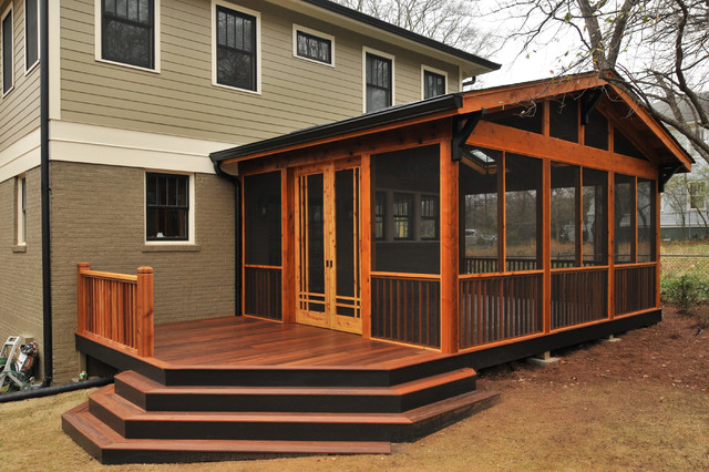 Craftsman screen porch craftsman atlanta by for Average cost to build a craftsman style home