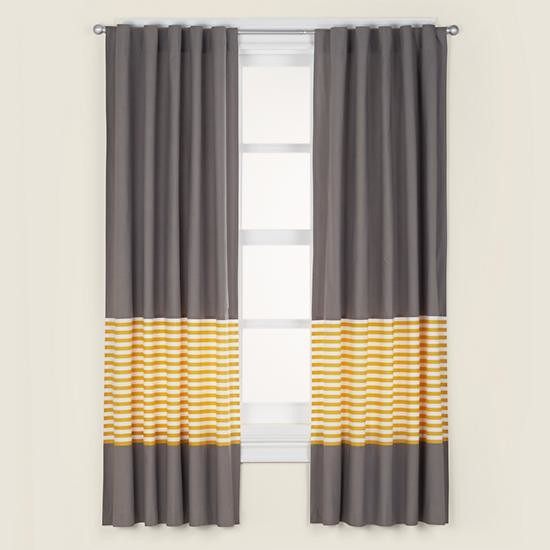 Grey And Yellow Window Curtains Draperies and Window Curtains