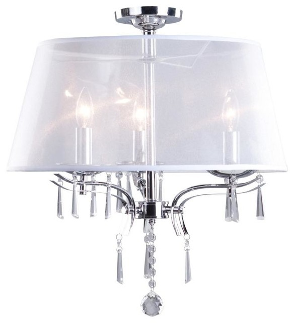 three light chrome organza shade drum shade semi flush. Black Bedroom Furniture Sets. Home Design Ideas