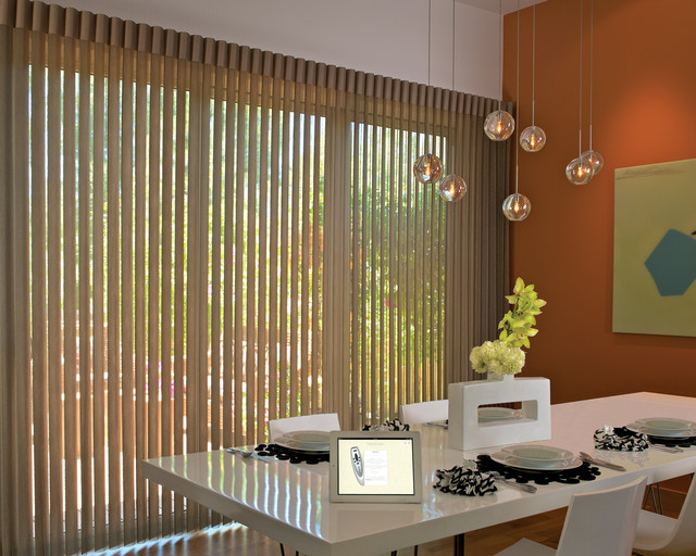Hunter Douglas Vertical Blinds Motorized Window Coverings Two Blind Guys Modern