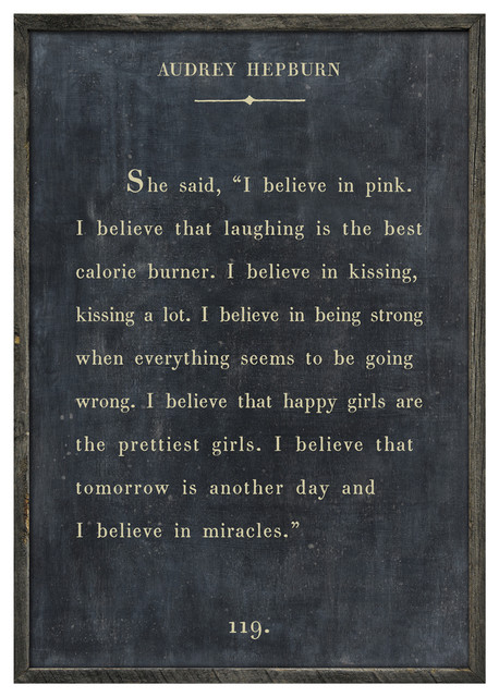audrey hepburn quote i believe in pink wood art print With kitchen cabinets lowes with audrey hepburn quotes wall art
