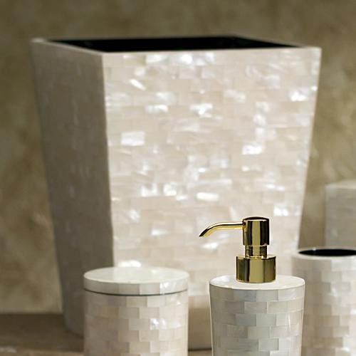 White Agate Wastebasket traditional-bathroom-accessories