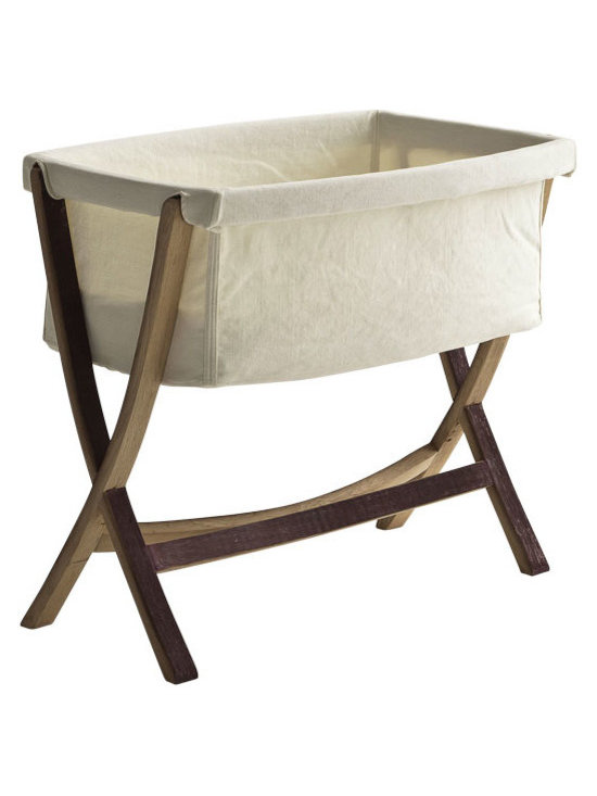ecofirstart - CULLA LETIZIA - This design was created by the people of San Patrignano. The cradle for a newborn is the first confortable dwelling providing shelter and protection. This is what San Patrignano represents for its people whose lives are being transfor as they go through the rehabilitation process. Made from reclaimed barrel wood and handwoven linen and cotton. As a delicate detail musical notes have been printed on the fabric.