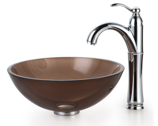 """Kraus - Kraus C-GV-103-14-12mm-1005CH Clear Brown 14"""" Glass Vessel Sink & Riviera Faucet - Add a touch of elegance to your bathroom with a glass sink combo from Kraus"""