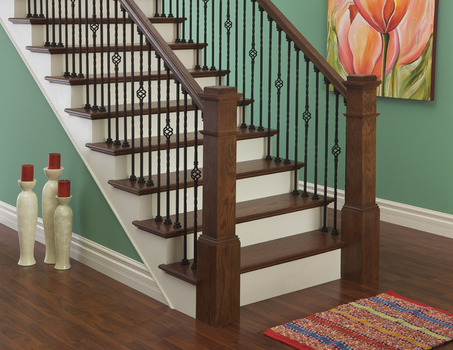 Iron Balusters and Box Newels - Traditional - Staircase