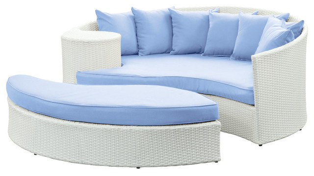 Modway EEI 645 Taiji Daybed in White Light Blue Modern