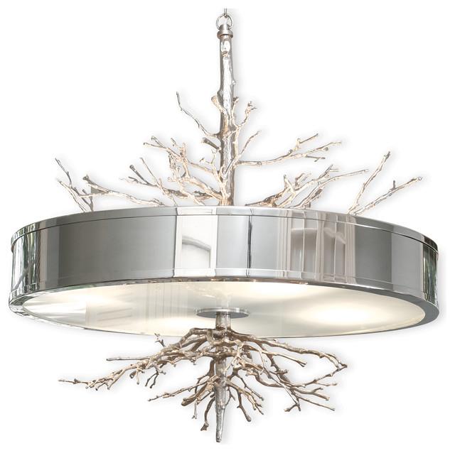 Bijou tree branch hollywood regency silver nickel ceiling - Tree branch light fixture ...