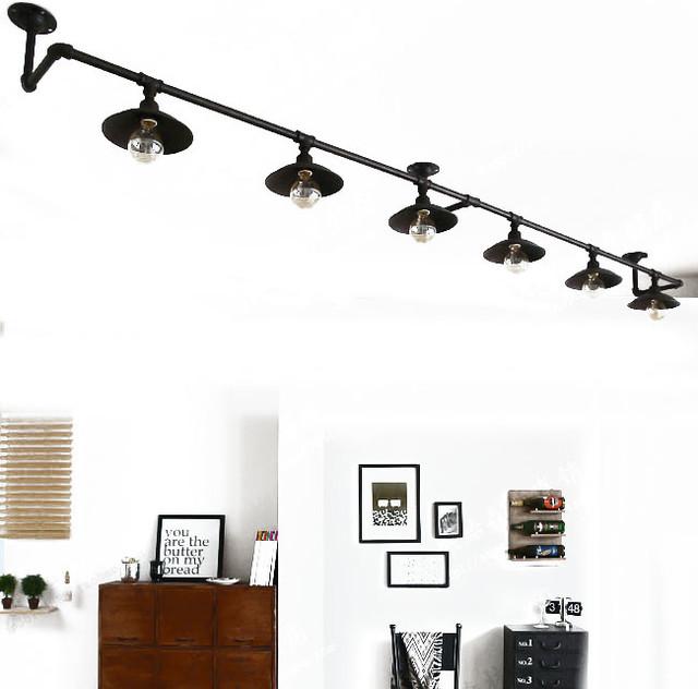 loft rh water pipe 6 lights ceiling lighting industrial. Black Bedroom Furniture Sets. Home Design Ideas
