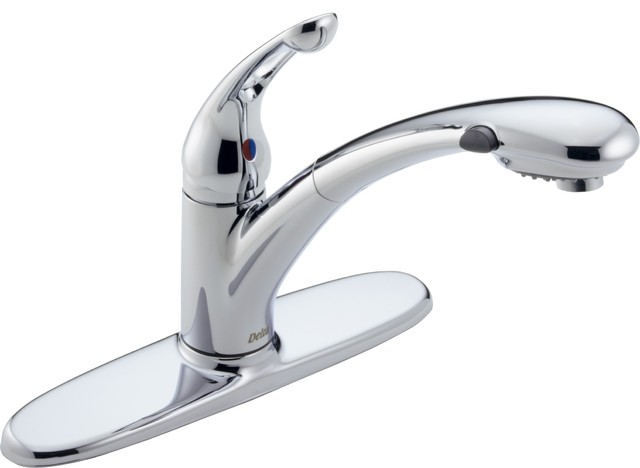 Delta 472-DST Signature Single Handle Kitchen Faucet with Pull-Out Spray and Dia traditional-kitchen-faucets