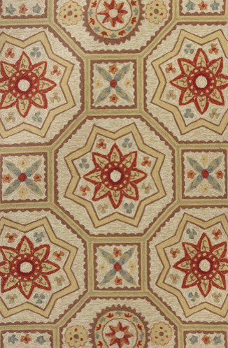 """Arabesque Sand Meridian Transitional Outdoor Indoor 5' x 7'6"""" Kas Rug  by RugLot rugs"""