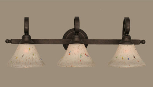 Curl Bronze Three-Light Bath Fixture With Frosted Crystal