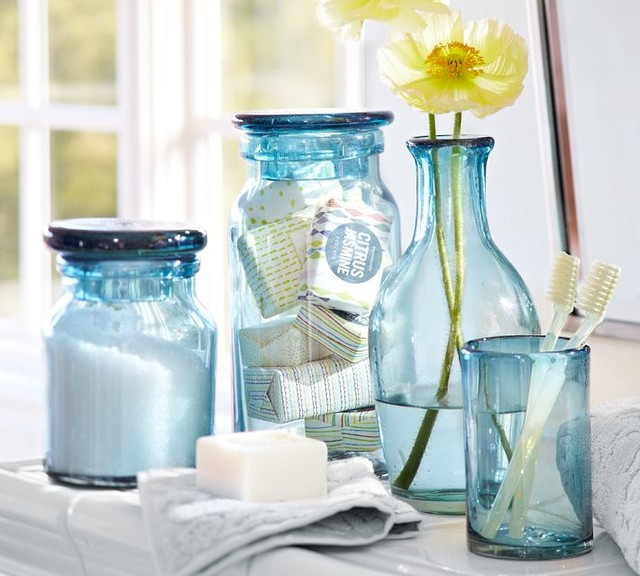 Recycled glass bath accessories contemporary bathroom accessories by pottery barn - Decoratie spa ...