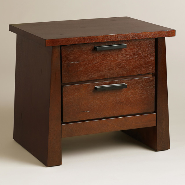 Asian Keiko Nightstand Brown Wood Nightstands