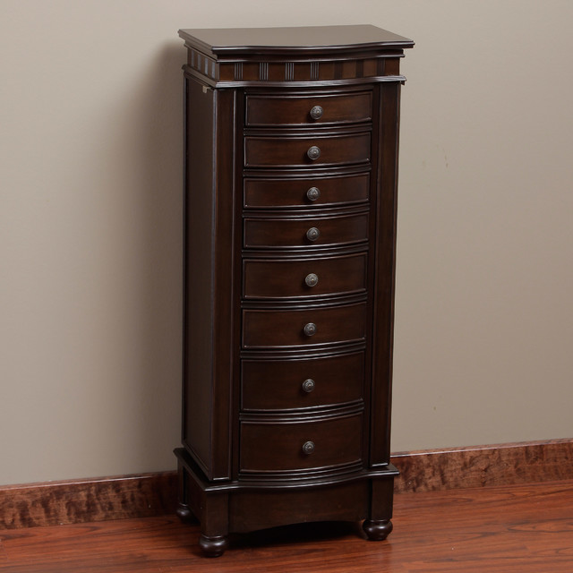 Muscatto Coffee 8 Drawer Storage Jewelry Armoire
