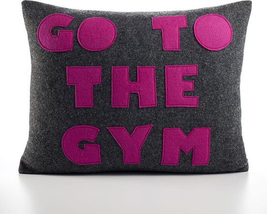 Alexandra Ferguson - Alexandra Ferguson Go To The Gym Pillow-Charcoal/Fuchsia - Recycled polyester fill insert included. The felt that I use is made from 100 percent post consumer recycled water bottles. So, you drink water, throw the empty bottle in the recycling bin. Then they are melted down and turned them into this beautiful, really high quality soft felt that I then use to make pillows. All pillows have a nylon zipper closure, with the alexandra ferguson logo embroidered on the center back bottom. Fabric content: Hemp & organic cotton canvas 100% organic cotton canvas Felt is made out of 100% post consumer recycled water bottles