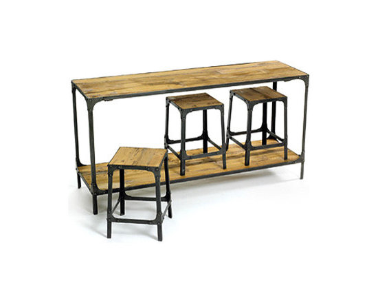 Reclaimed Console and Stools -