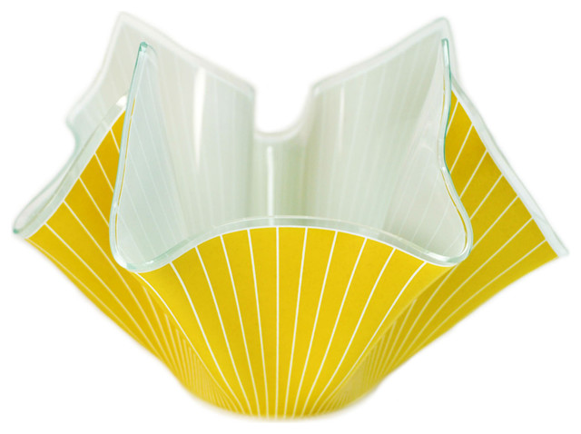 Consigned Yellow Handkerchief Glass Bowl, Vintage English, circa 1960 traditional-vases