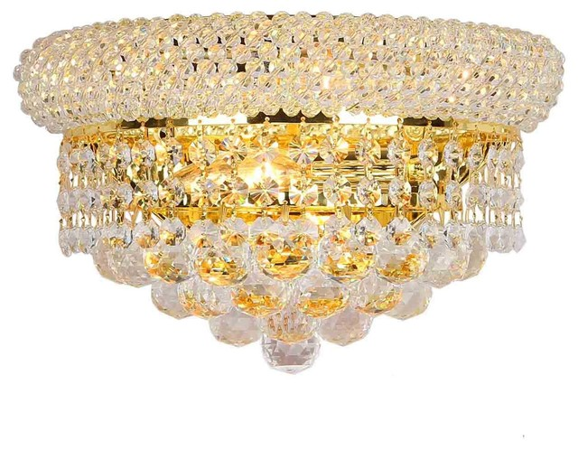 "Empire 2 Light Gold Finish Crystal 12"" W Wall Sconce Light Medium contemporary-wall-sconces"