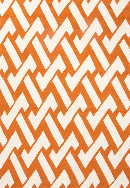 Geometric Pattern Polypropylene Orange Ivory Indoor