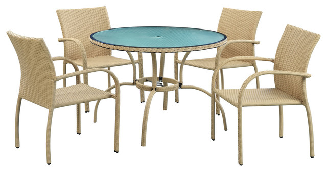Circulo Outdoor Wicker Patio Dining Table and Flaxen Chair Set Modern Out