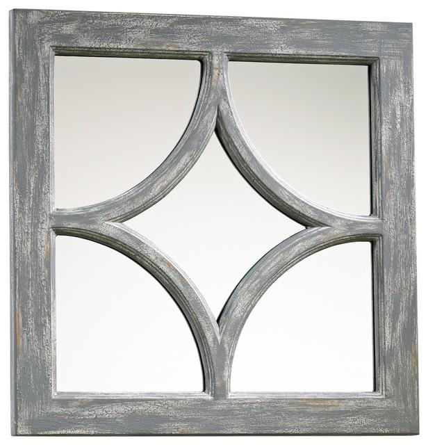 "Country - Cottage Ashton Grey Wood 16 3/4"" Square Wall Mirror farmhouse-wall-mirrors"