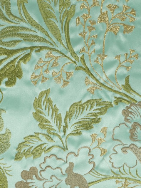 Green Embroidered Floral Faux Silk Fabrics