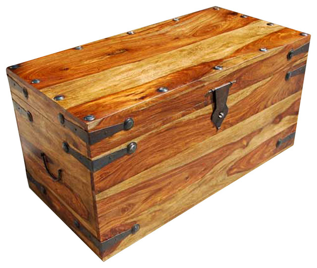 Dallas wood iron coffee table storage chest - Decorative trunks and boxes ...