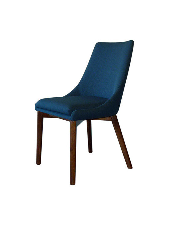 Gingko - Pascal Dining Chair, Azure - Extremely comfortable dining chair upholstered in easy to clean fabric. Exposed Walnut Base, adds a rich quality to this simple, elegant design.  Great in a contemporary, mid-century, or transitional design setting.