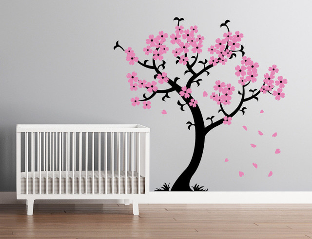 Cherry Blossom Tree Wall Decal Black And Light Pink