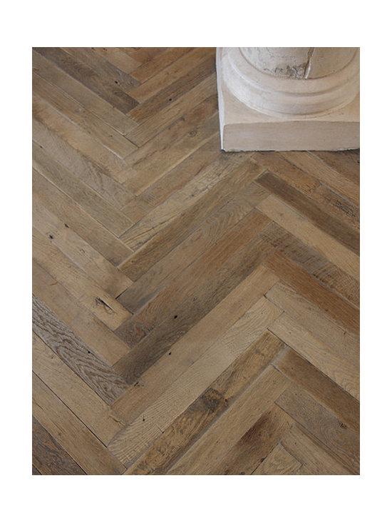 Antique French Oak Herringbone Wood Floor -