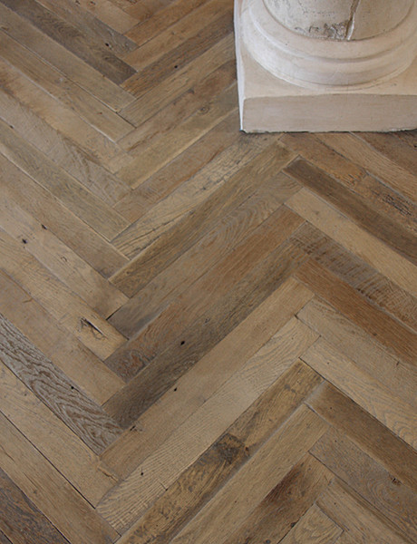 Antique french oak herringbone wood floor traditional for Wood floor herringbone