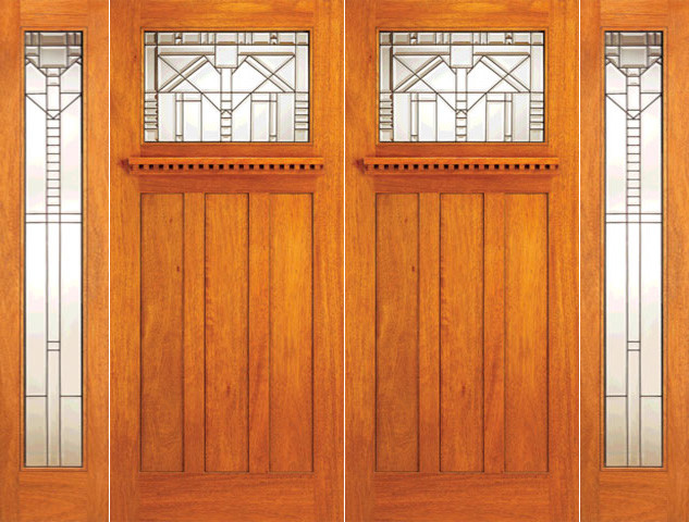 Mahogany Mission Style Prehung Double Door And Full Lite