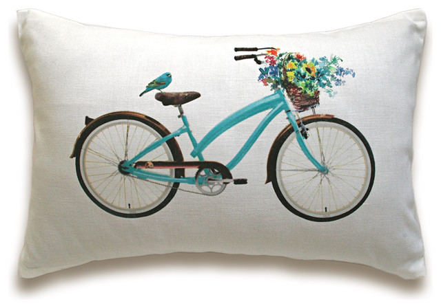 Bicycle Print Throw Pillow : Bicycle Pillow Cover 12x18 inch