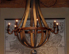 Reclaimed Wood Barrel Chandelier eclectic chandeliers