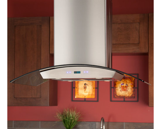 """Home Accents - Compass Series 36"""" Island Stainless Steel Range Hood, Signature Hardware"""