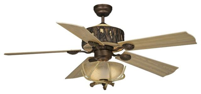 52 vaxcel log cabin ceiling fan with antler bowl light. Black Bedroom Furniture Sets. Home Design Ideas