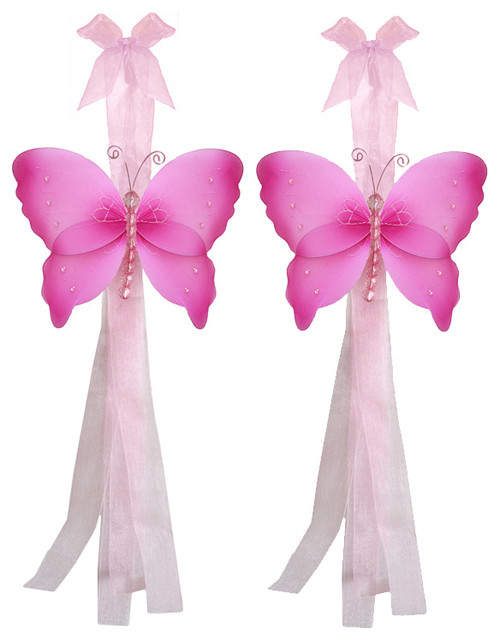 Butterfly Tie Backs Dark Pink Crystal Nylon Butterflies Tieback Pair Set Decor window-treatment-accessories